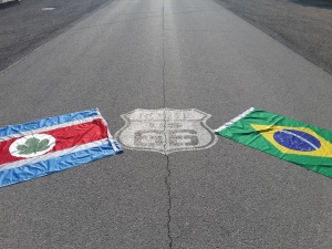 Flag Taquarituba (our hometown), symbol of Route 66 and flag of Brazil.